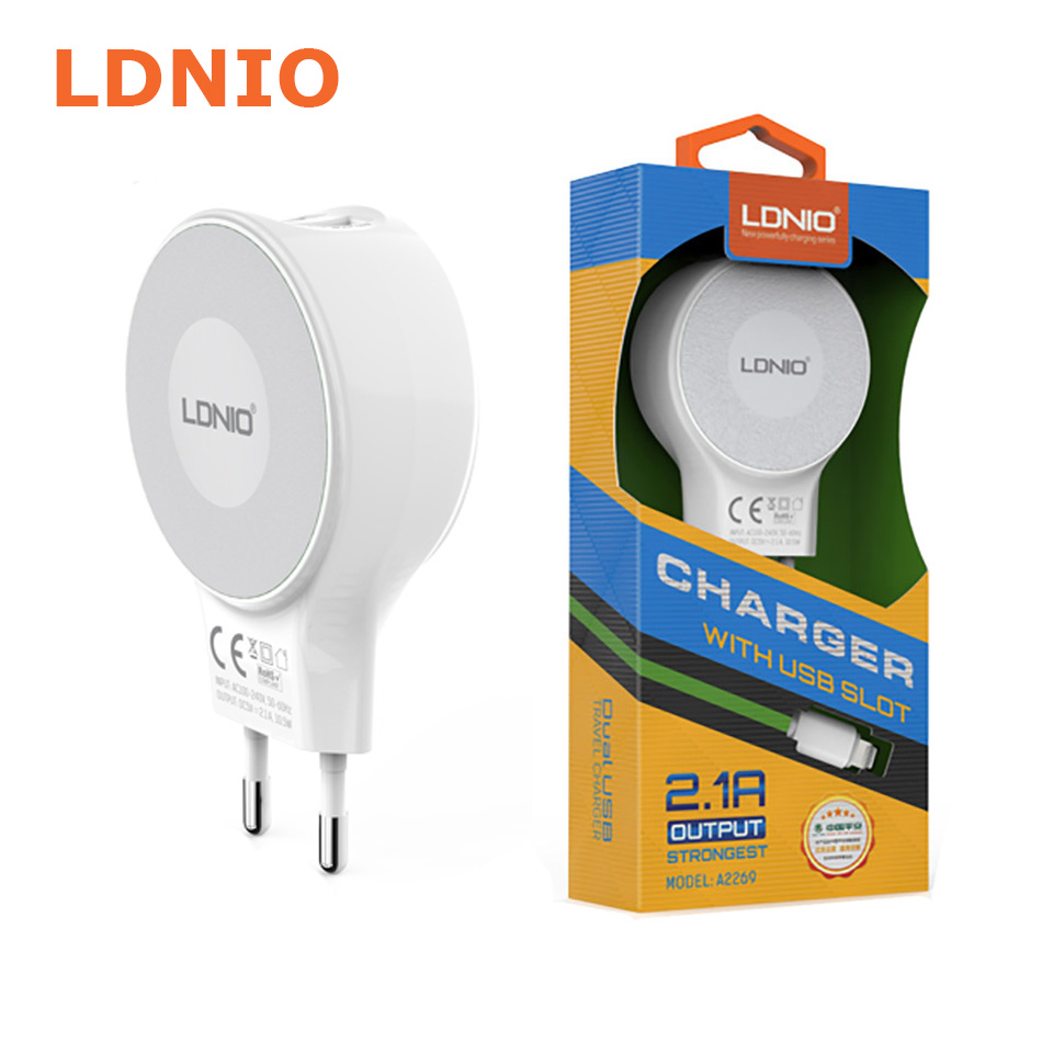 LDNIO A2269 Wall Charger With microUSB Cable شارژر دیواری الدینو مدلA2269 شارژر دیواری الدینو مدلA2269