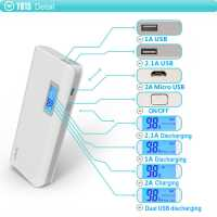 ARUN Y615 10000mAh 1A / 2A Dual USB Outputs Mobile Power Bank