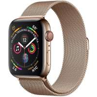 Apple Watch Series 4 Cellular 44mm Gold Stainless Steel Case with Gold Milanese L